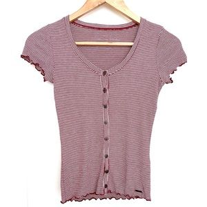 Hollister Red & White Striped Henley Tee XS